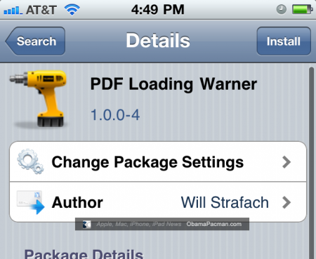 Cydia PDF Loading Warner Exploit Fix