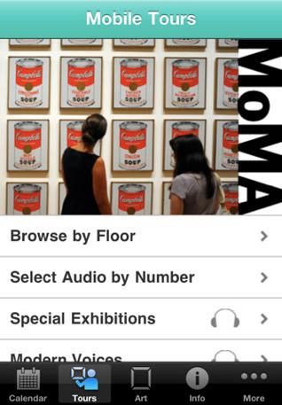 MoMA iPhone App, multimedia museum tour