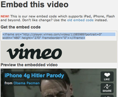 Vimeo Starts HTML5 Video Embedding Support | Obama Pacman