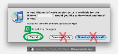 jailbreaked, unlocked iPhone iTunes software update, do not do it