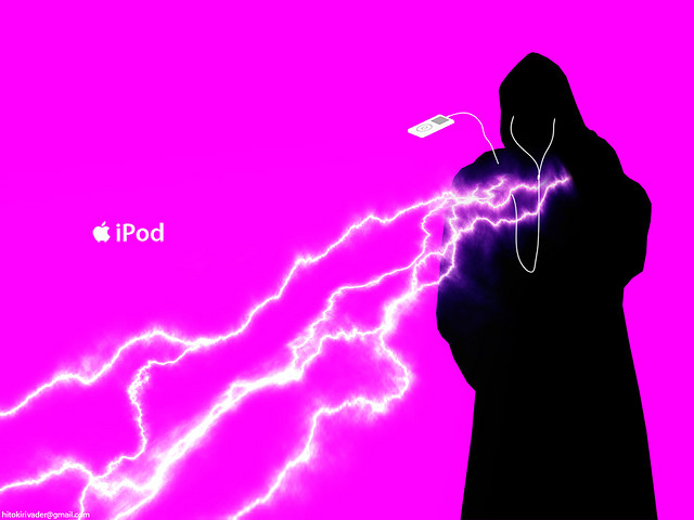 star wars emperor using Force lightening iPod ad spoof