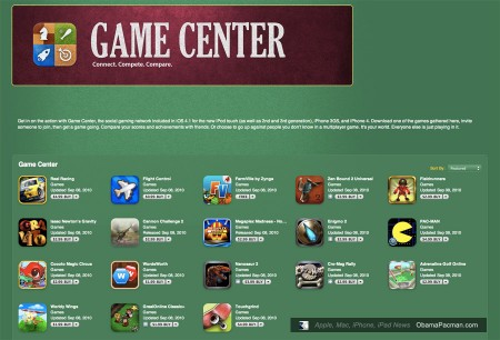 Apple Game Center Apps Official List