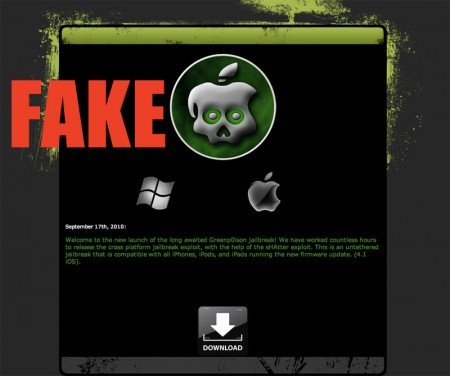 Fake Greenpois0n iOS 4.1 Jailbreak for iPhone iPod touch