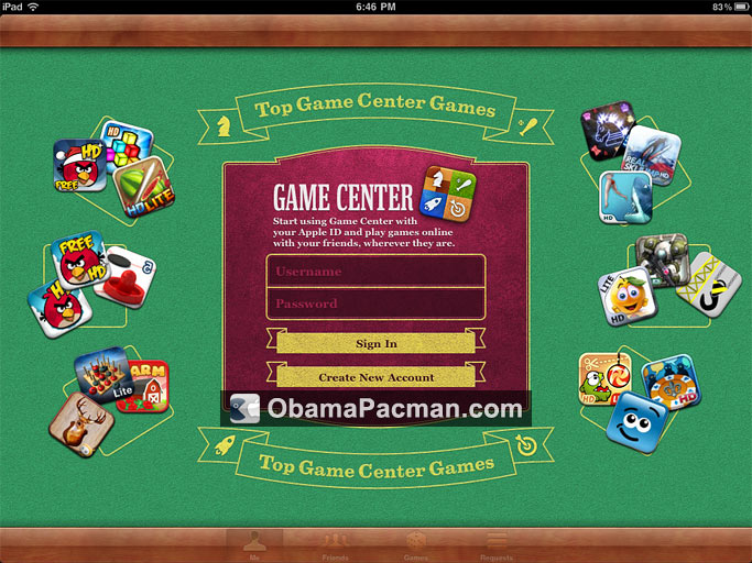 Game Center iPad Sign Up   Obama Pacman