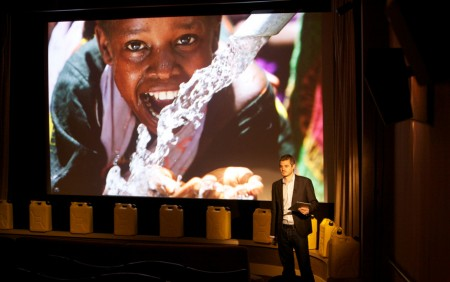 charity water, iPad in business presentation
