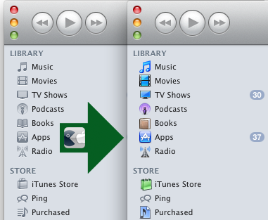 iTunes 10 gray sidebard to colorful icons