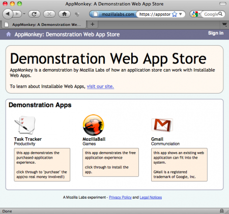 Mozilla Labs Open Web App Store