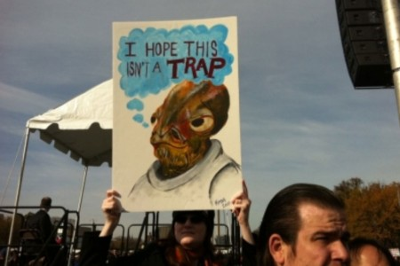 Admiral Ackbar It's a Trap, Stewart Colbert Sanity Fear DC Rally