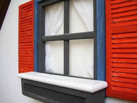 Apple iHouse shuttered windows, curtains