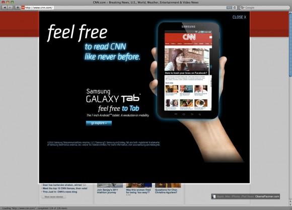 Fail, Samsung Galaxy Tab Pop-Up Ad Annoys CNN users