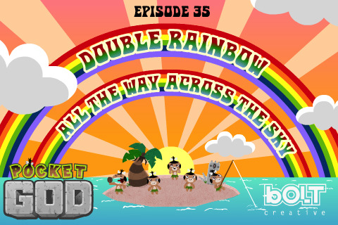Pocket God iPhone Game, Double Rainbow Update