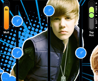 Justin Bieber iPhone Game, guitar hero inspired