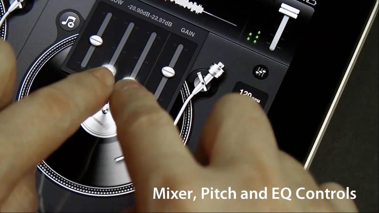 Mixer Pitch EQ Controls, iPad Djay DJ App.