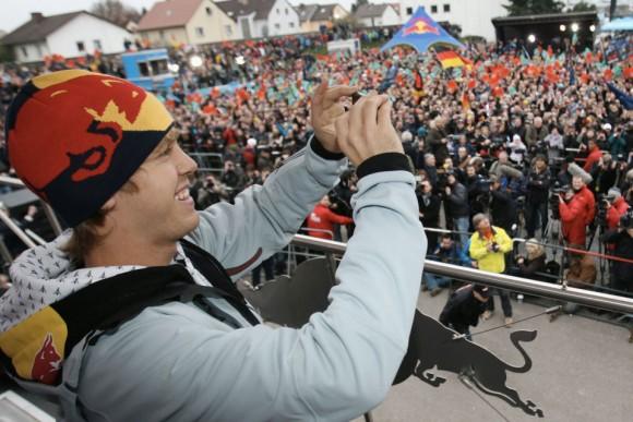 Sebastian Vettel F1 Champion uses iPhone 4, Heppenheim