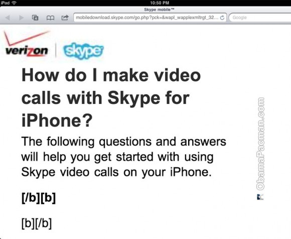 Skype Verizon iPhone 4 Video Calls