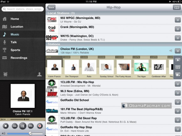 TuneIn Radio iPad