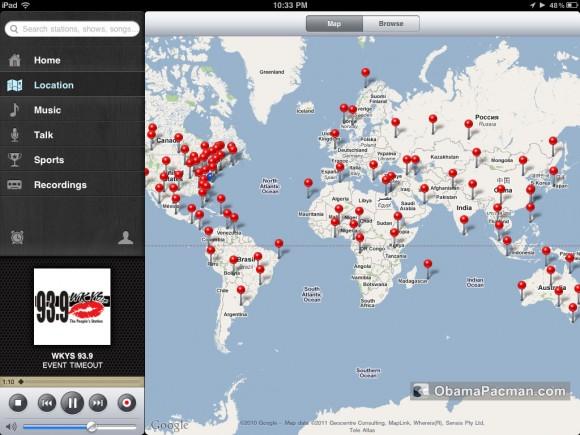 TuneIn FM AM Radio iPad by location
