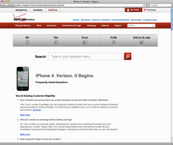 Verizon iPhone 4 Support page