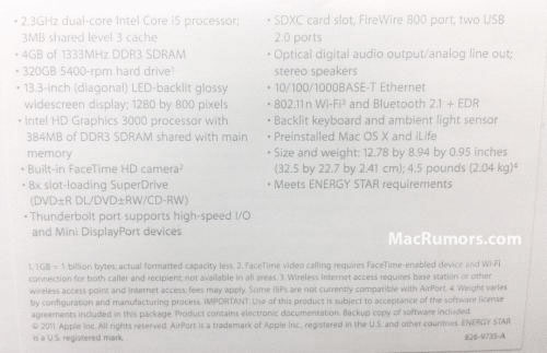 "2011 Thunderbolt MacBook Pro 13"" Specs"