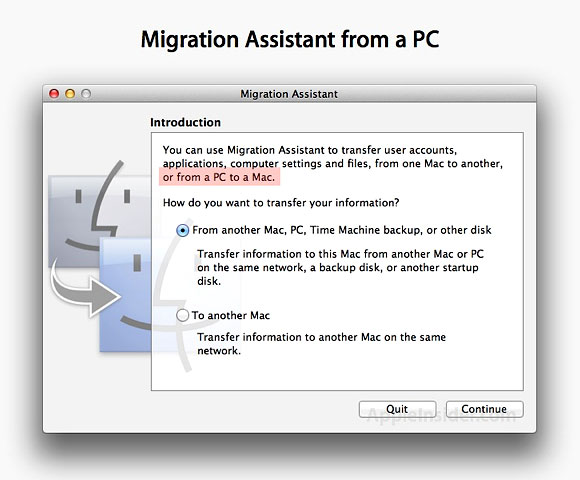 Apple Mac OS X 10.7 Migration Assistant PC