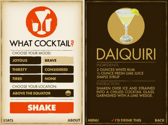 What Cocktail iPhone iPod touch make drink app