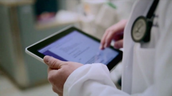 Doctor using iPad