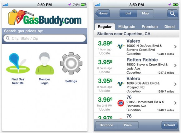 Gas Buddy iPhone Price Comparison App