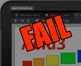 Motorola Xoom Android Honeycomb Tablet HTML5 Fail