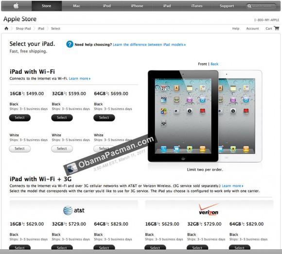 iPad 2 ships 3-5 days
