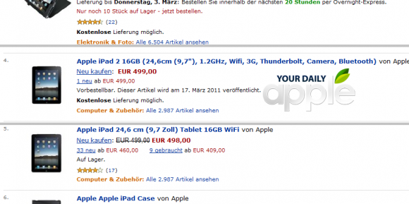 iPad 2 specs amazon germany leaked