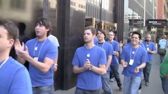 Employee chant, SXSW Pop Up Apple Store Austin, TX