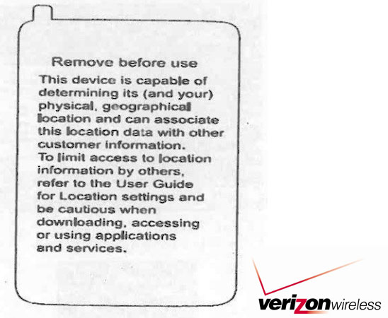 Verizon Phone Location Tracking Warning Label