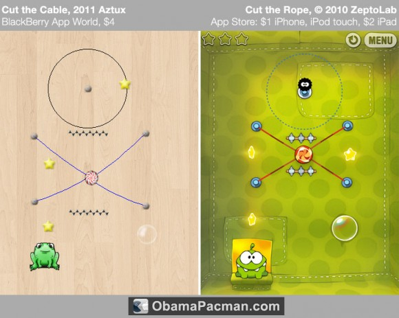 Cut the Rope fake BlackBerry Game
