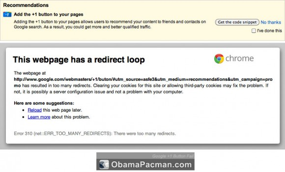 Google +1 Fail, Redirect Loop Error 310