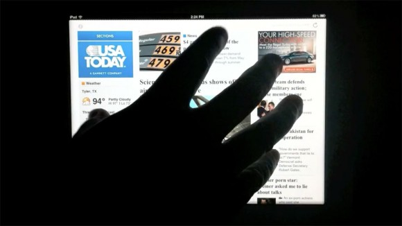 Multi-touch pinch, home screen gesture, iOS 5 iPad