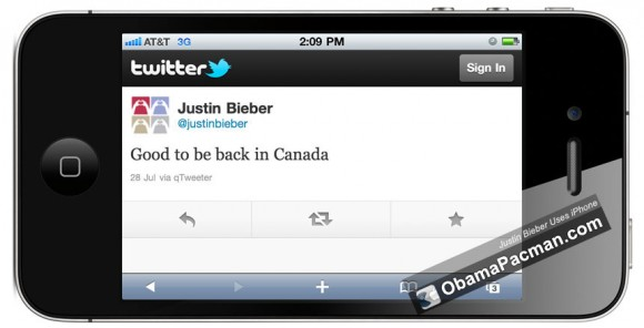 Just Bieber iPhone Tweet