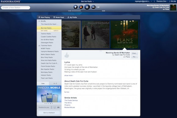 Pandora Internet Radio Music Streaming drops Flash for HTML5