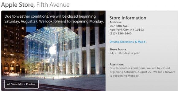 Fifth Avenue Apple Store, closed Hurricane Irene 2011