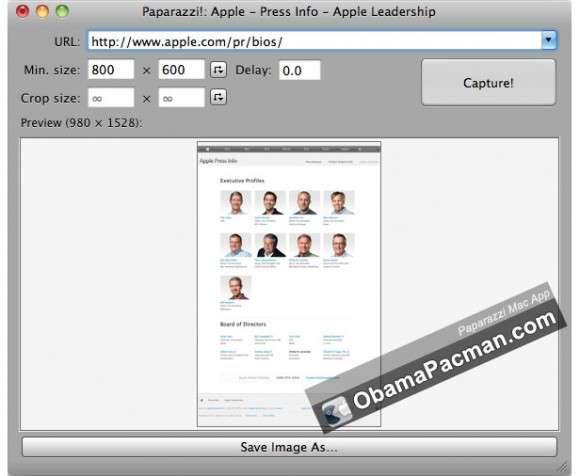 Paparazzi Mac take long web page screenshots