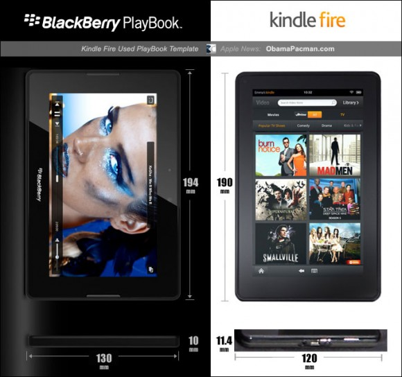 Amazon Kindle Fire, BlackBerry PlayBook size comparison
