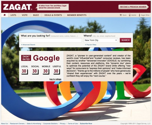 Google Buy Zagat Announcement