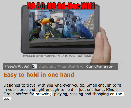 Kindle Fire Android Tablet no 3G no ad-hoc wifi