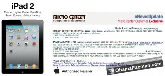 Micro Center iPad 2 sale