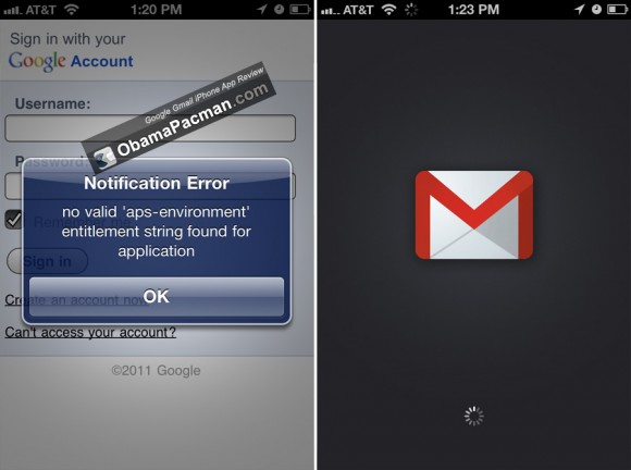 Google Gmail App problem