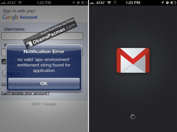 Google Gmail App problem