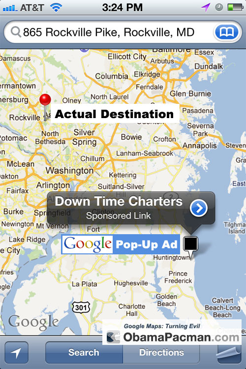 Google Maps Turning Evil: Now Serving Pop Up Ads | Obama Pacman