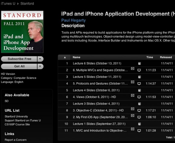 iPhone iPad App Development free video course Stanford podcast