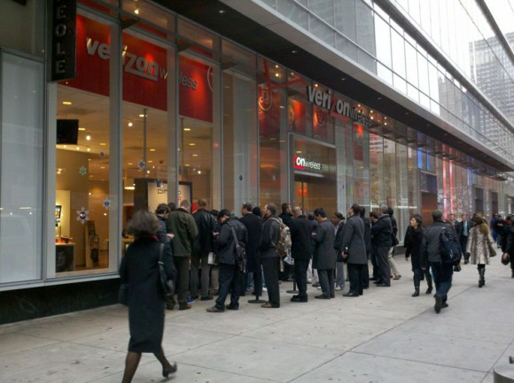 Galaxy Nexus Time Square NYC launch line