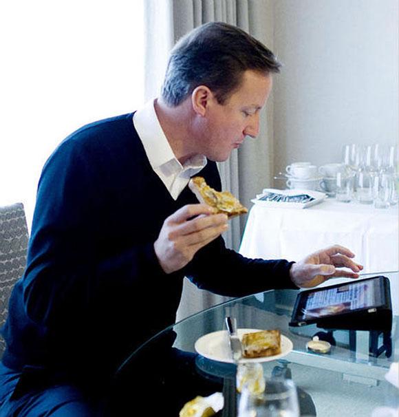 British Prime Minister David Cameron iPad