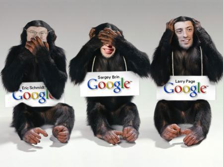 Evil Google monkeys Eric Schmidt, Sergey Brin, Larry Page